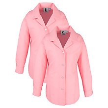Buy Girls' School Long Sleeve Revere Collar Blouse, Pack of 2, Raspberry Online at johnlewis.com
