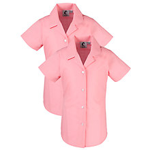 Buy Girls' School Short Sleeve Revere Collar Blouse, Pack of 2, Raspberry Online at johnlewis.com