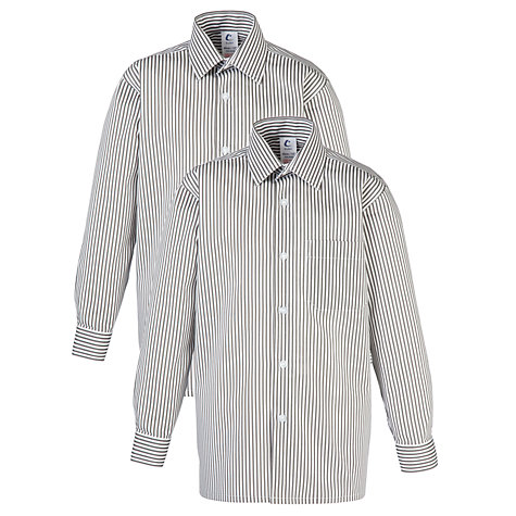 Buy Striped Long Sleeve Unisex School Shirt, Pack of 2, Grey/White Online at johnlewis.com