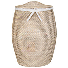 Buy John Lewis Rattan Laundry Bin, White Online at johnlewis.com
