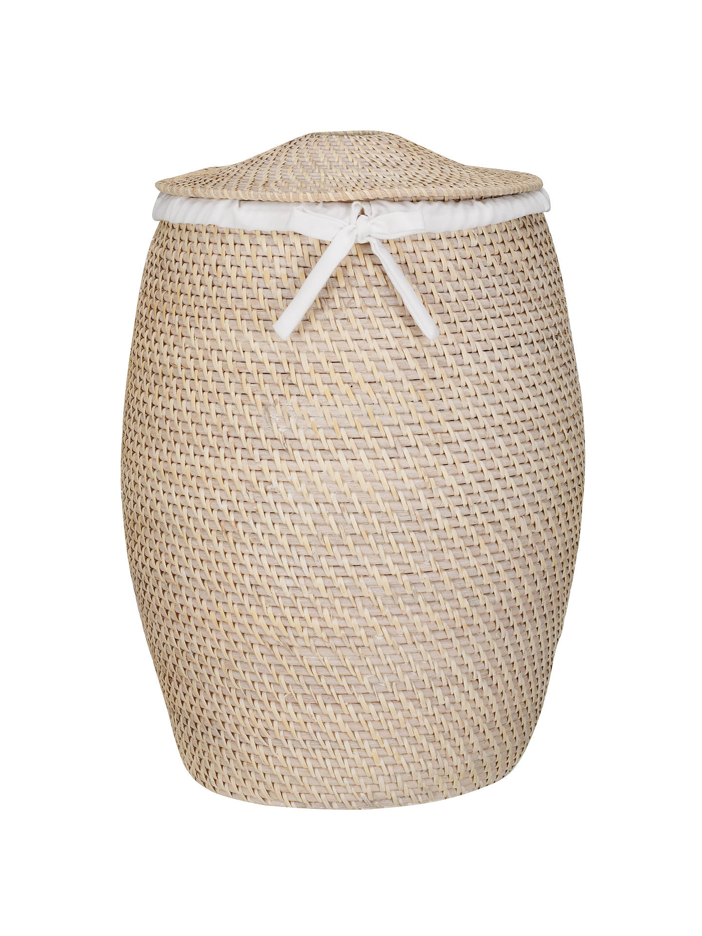 Buy John Lewis & Partners White Rattan Laundry Basket, White Online at johnlewis.com