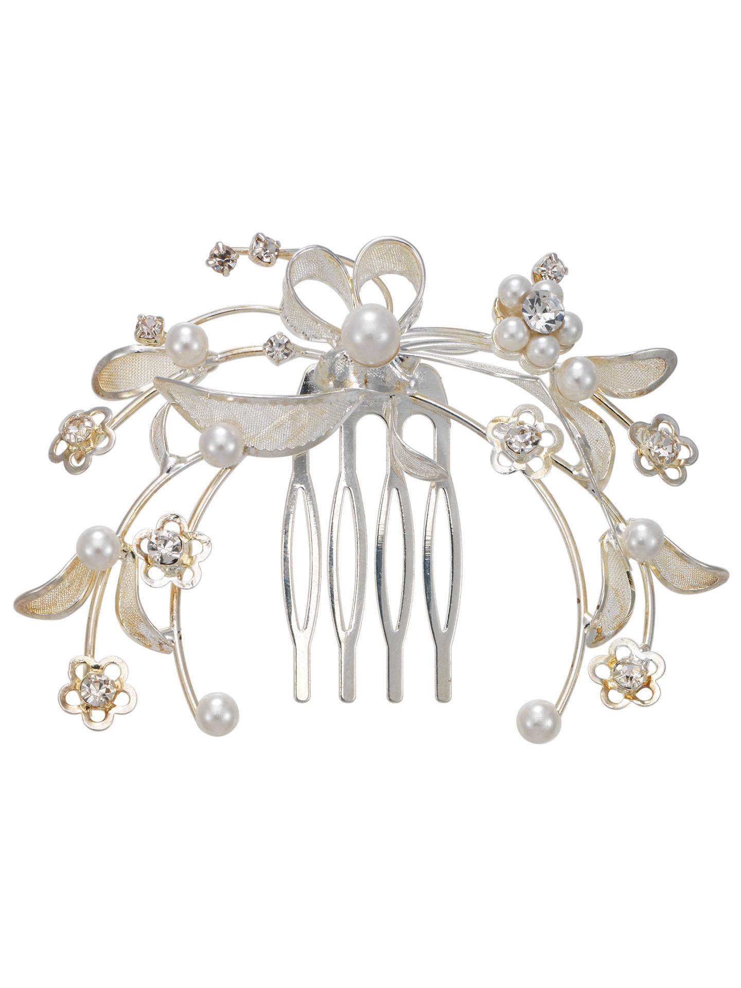 john lewis pearl and diamanté petal filigree hair comb at