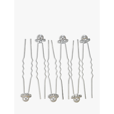 John Lewis & Partners Faux Pearl and Diamante Hair Pins, Pack of 6, Silver