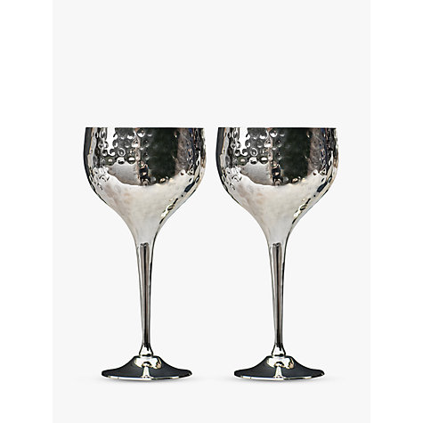 buy culinary concepts hammered wine goblets box of 2 silver online at johnlewis