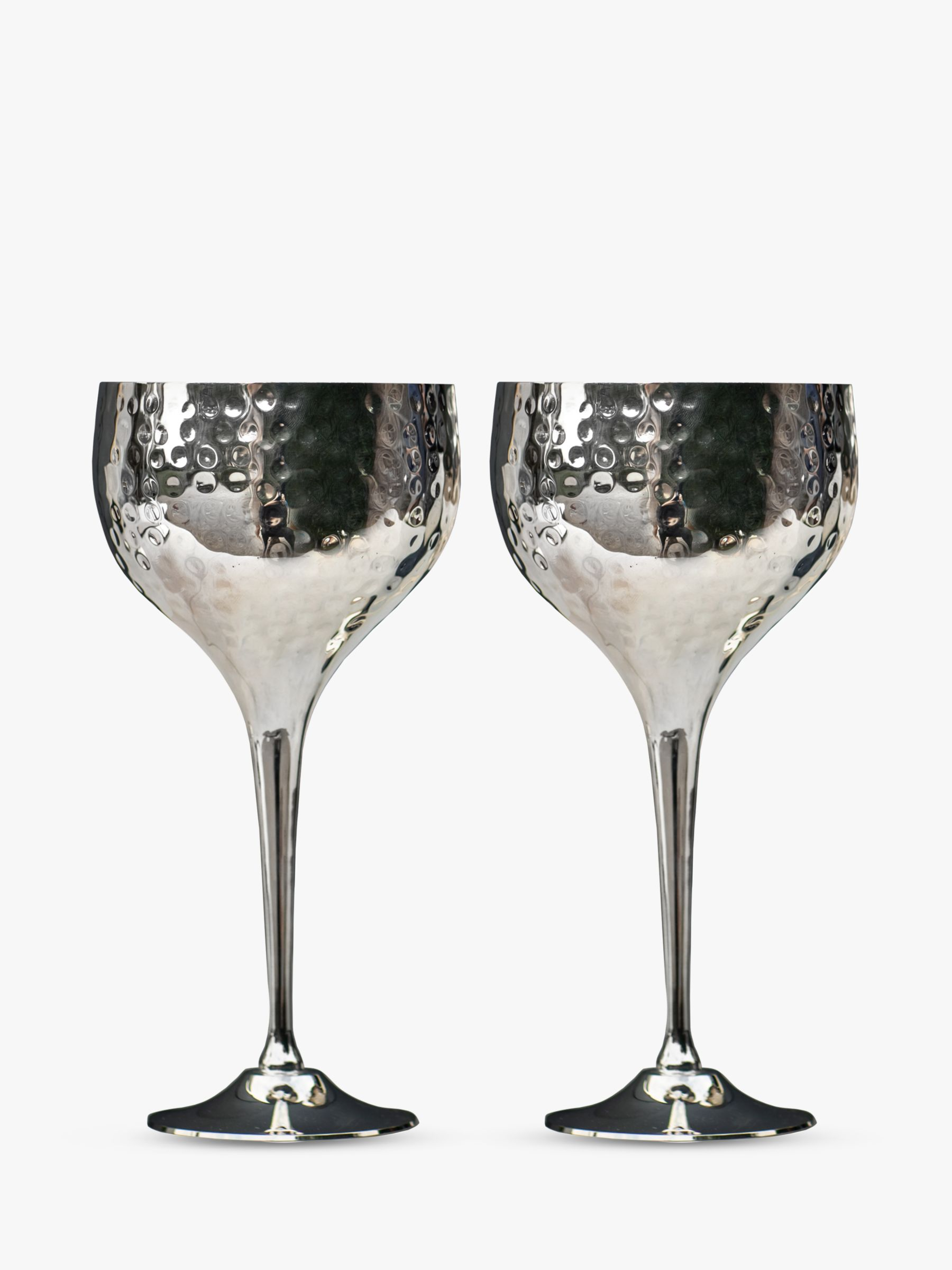 Culinary Concepts Culinary Concepts Hammered Wine Goblets, Box of 2, Silver