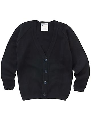 Girls' School V-Neck Cardigan, Dark Navy