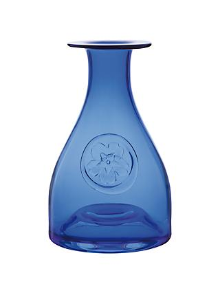 Dartington Crystal Primrose Flower Bottle Vase, Blue, H22.5cm