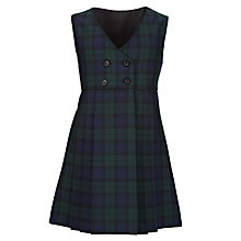 Buy Girls' School Cross Over Tartan Tunic, Green/Navy Online at johnlewis.com