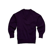 Buy Plain Unisex School V-Neck Acrylic Jumper, Purple Online at johnlewis.com