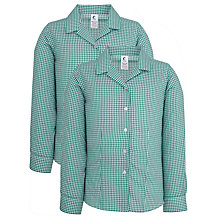 Buy St Helen's School Girls' Long Sleeve Blouse, Pack of 2, Green/White Online at johnlewis.com