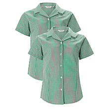 Buy St Helen's School Girls' Senior Summer Blouse, Pack of 2, Green/White Online at johnlewis.com