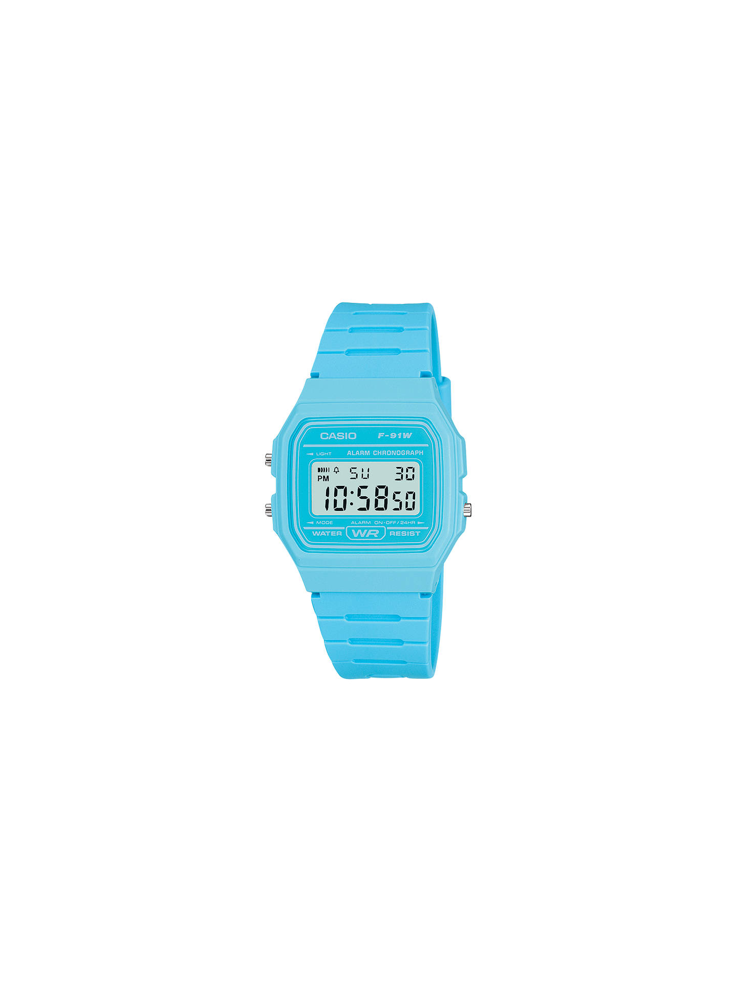BuyCasio F-91WC-2AEF Unisex Core Digital Chronograph Rectangular Dial Rubber Strap Watch Online at johnlewis.com