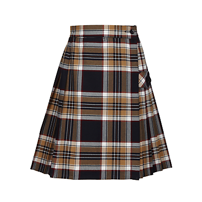 Tockington Manor School Girls' Tartan Kilt, Brown/Multi
