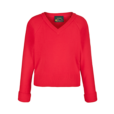 Product photo of Plain unisex school vneck acrylic jumper red