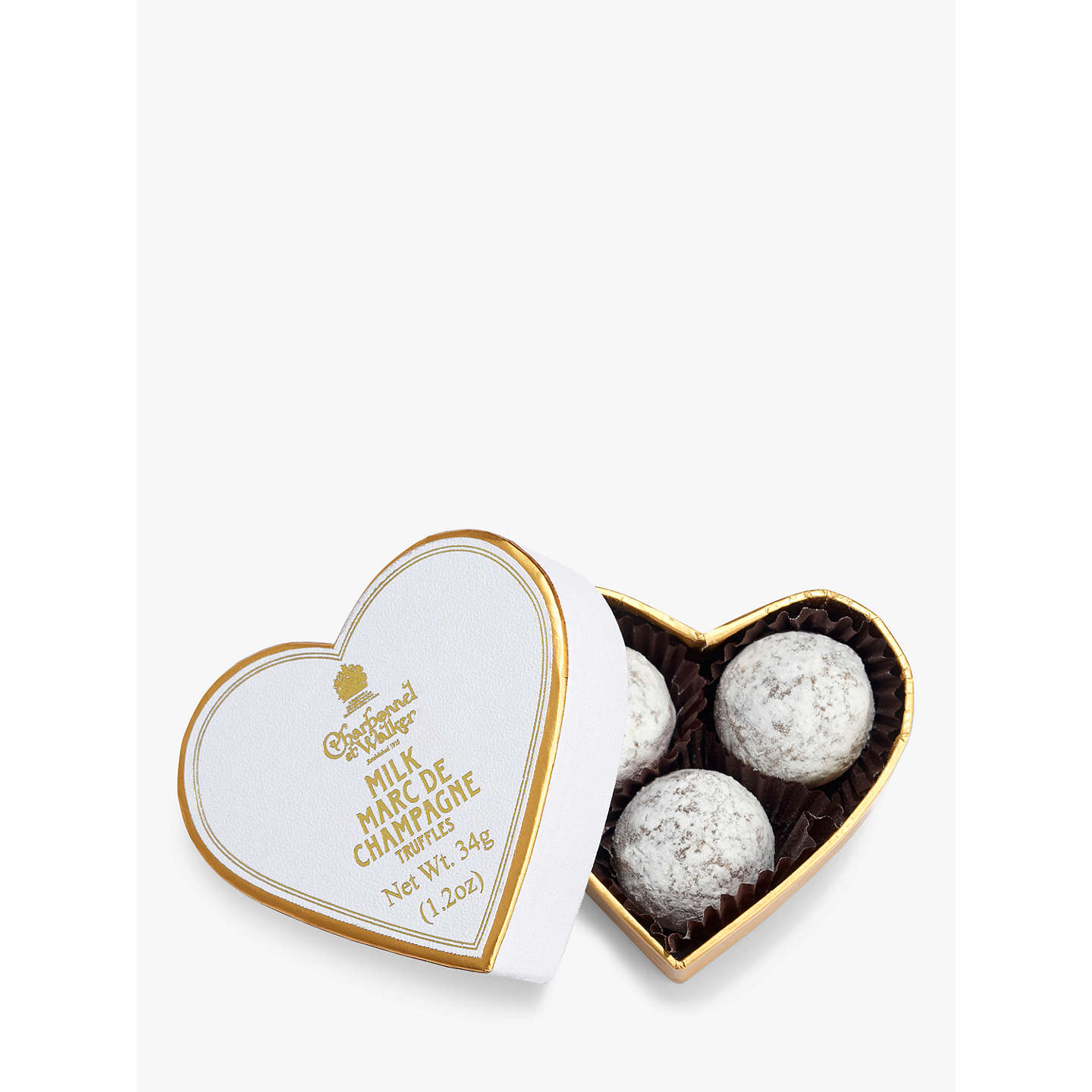 BuyCharbonnel et Walker Mini White Heart with Milk Chocolate Champagne Truffles, 34g Online at johnlewis.com