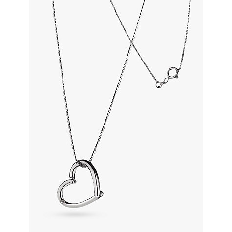 Buy Hot Diamonds Just Add Love Open Heart Pendant Necklace, Silver Online at johnlewis.com