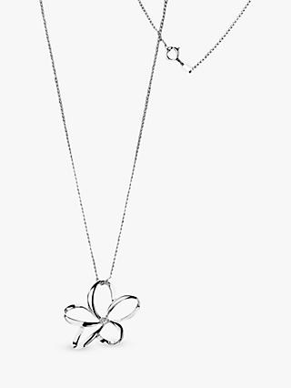 Hot Diamonds Plumeria Mini Open Flower Pendant Necklace, Silver