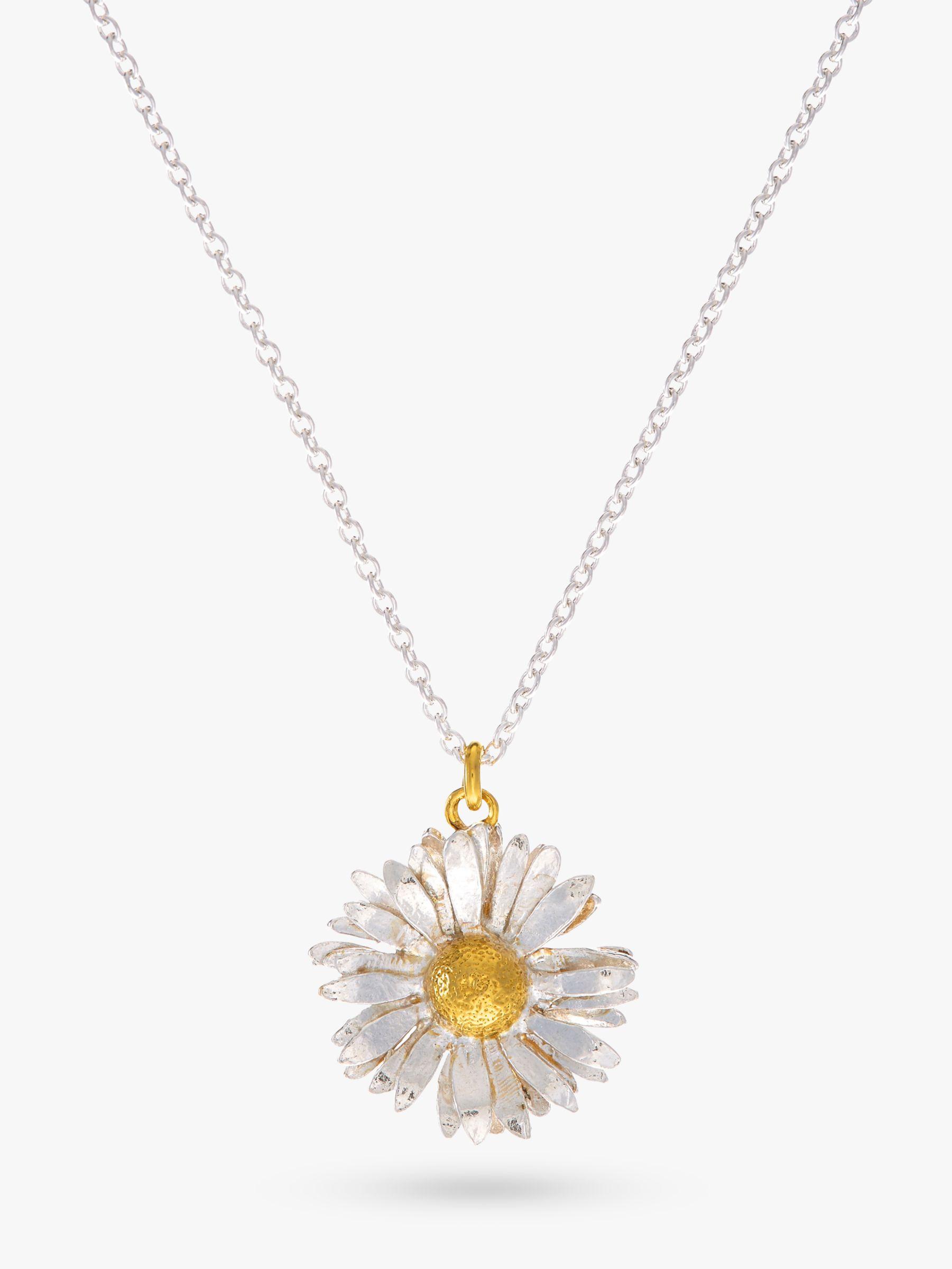 Alex Monroe Alex Monroe for John Lewis Daisy Pendant Necklace, Silver/Gold