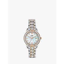 Buy Citizen EW1686-59P Women's Eco-Drive Silhouette Crystal Bracelet Strap Watch, Silver/Gold Online at johnlewis.com