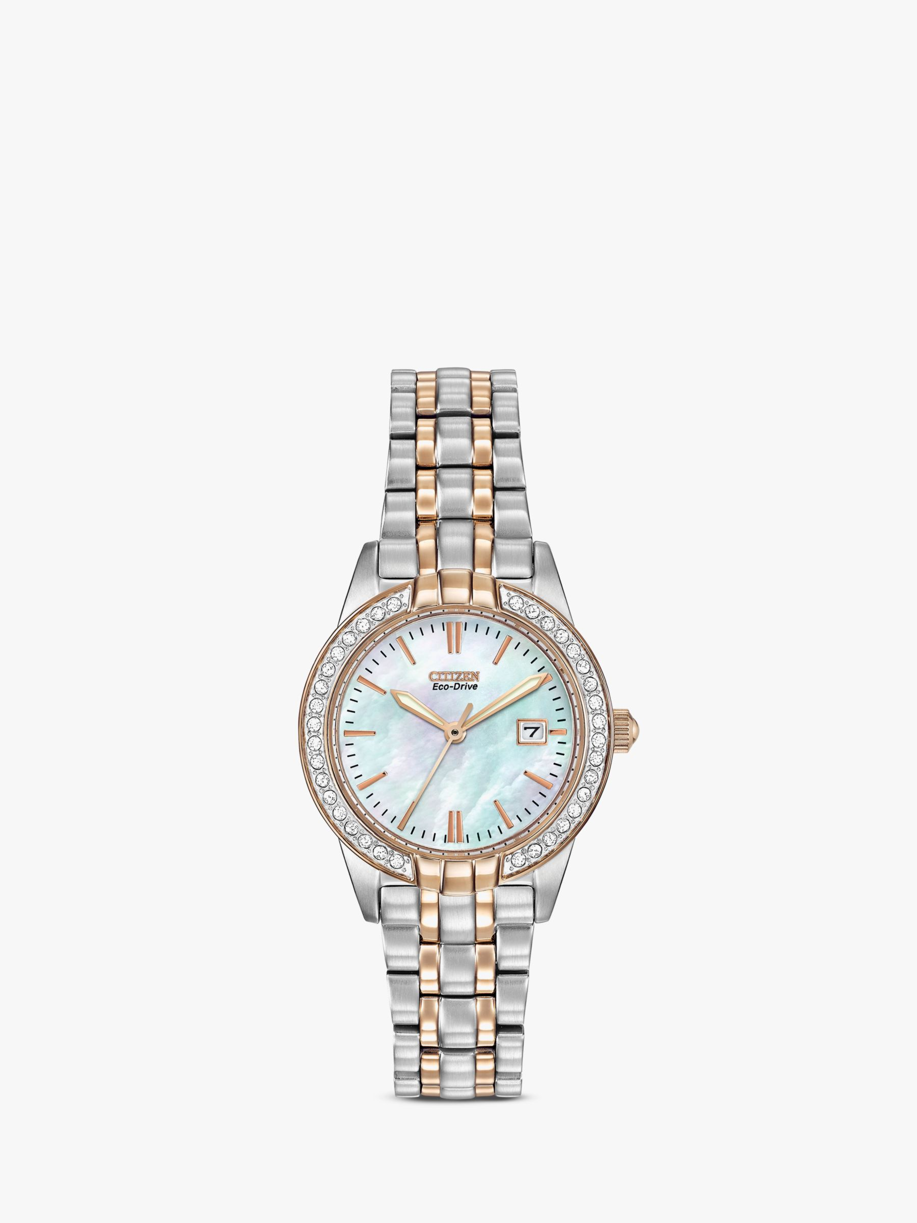 Citizen Citizen EW1686-59P Women's Eco-Drive Silhouette Crystal Bracelet Strap Watch, Silver/Gold