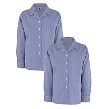 Buy Girls' School Long Sleeve Open Neck Striped Blouse, Pack of 2, Navy/White Online at johnlewis.com