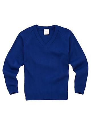 Plain Unisex School V-Neck Jumper, Royal Blue