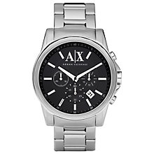 Buy Armani Exchange AX2084 Men's Chronograph Date Bracelet Strap Watch, Silver/Black Online at johnlewis.com