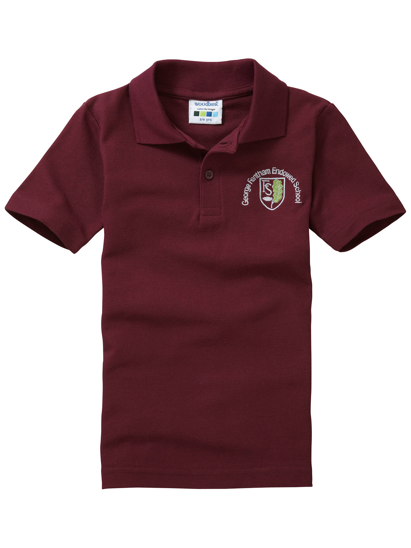 BuyGeorge Fentham Endowed School Unisex Polo Shirt, Maroon, Age 11/12 Online at johnlewis.com