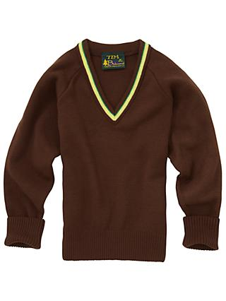 Jordanhill School V-Neck Acrylic Unisex Jumper, Brown
