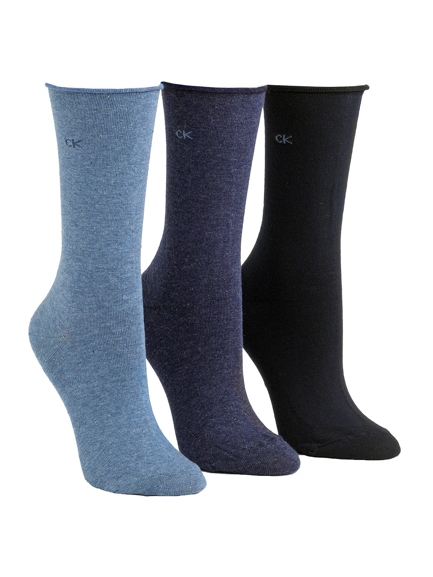 BuyCalvin Klein Roll Top Crew Socks, Pack of 3, Denim/Navy Online at johnlewis.com