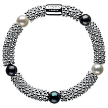Buy Links of London Effervescence Star Sterling Silver Pearl Bracelet, Silver/Black Online at johnlewis.com