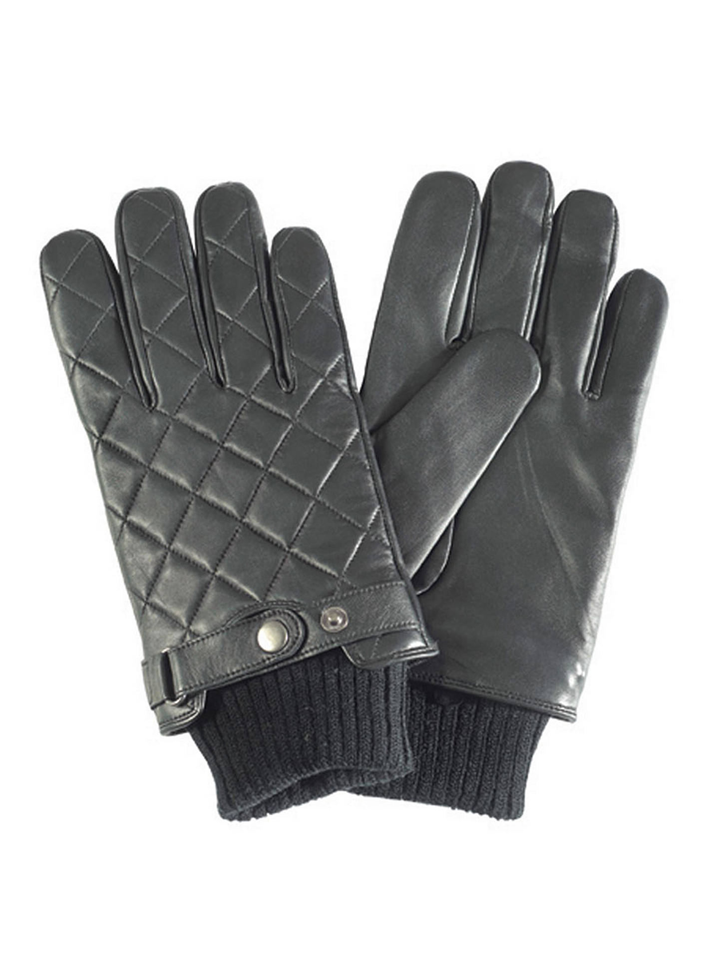 BuyBarbour Quilted Leather Gloves, Black, L Online at johnlewis.com