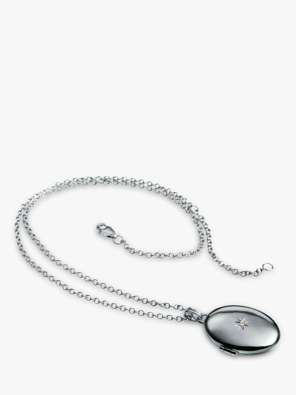 Hot Diamonds Hot Diamonds Oval Inheritance Locket Pendant Necklace, Silver