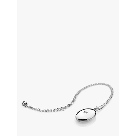 Buy Hot Diamonds Oval Inheritance Locket Pendant Necklace, Silver Online at johnlewis.com