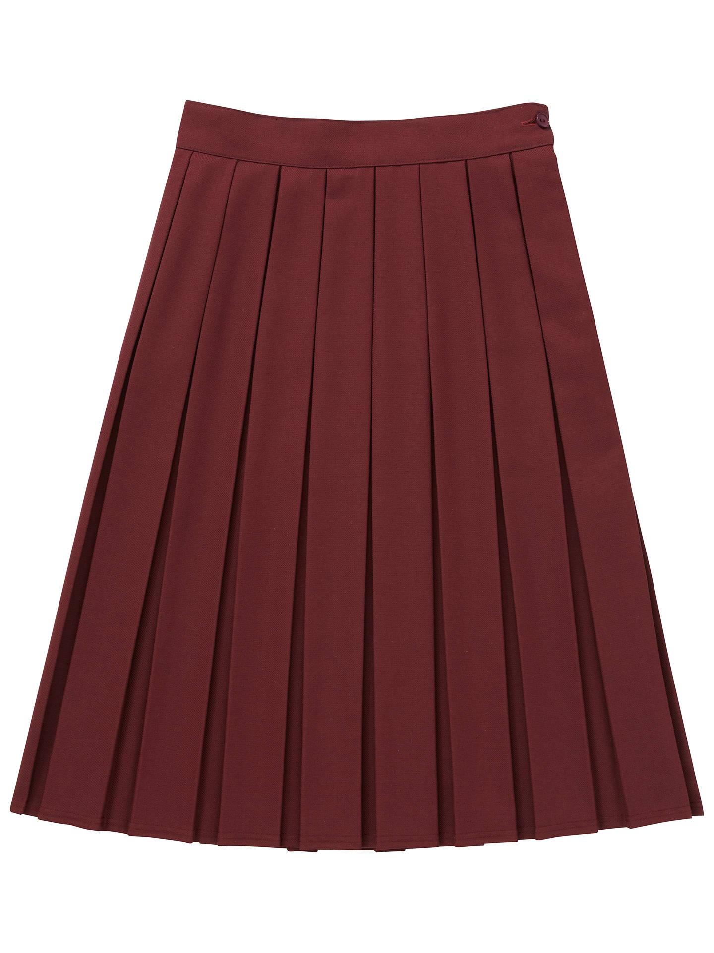 643f1dcc7 Girls' School Box Pleat Skirt, Maroon at John Lewis & Partners