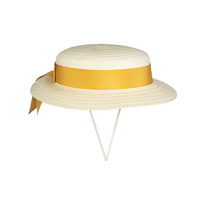 Girls' School Summer Boater Hat, Straw