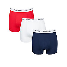 Buy Calvin Klein Underwear Cotton Stretch Trunks, Pack of 3, Red/Blue/White Online at johnlewis.com