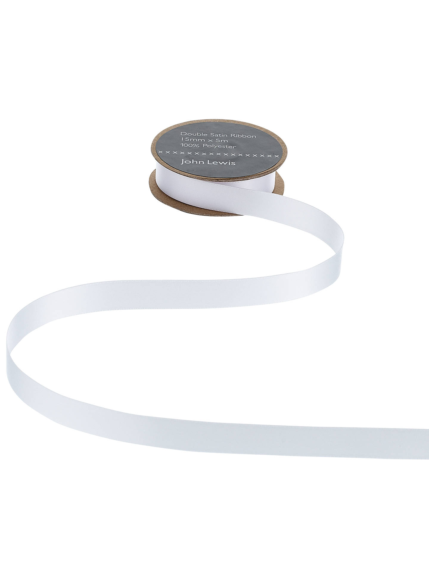 Buy John Lewis & Partners Double Satin Ribbon, 5m, White, 3mm Online at johnlewis.com