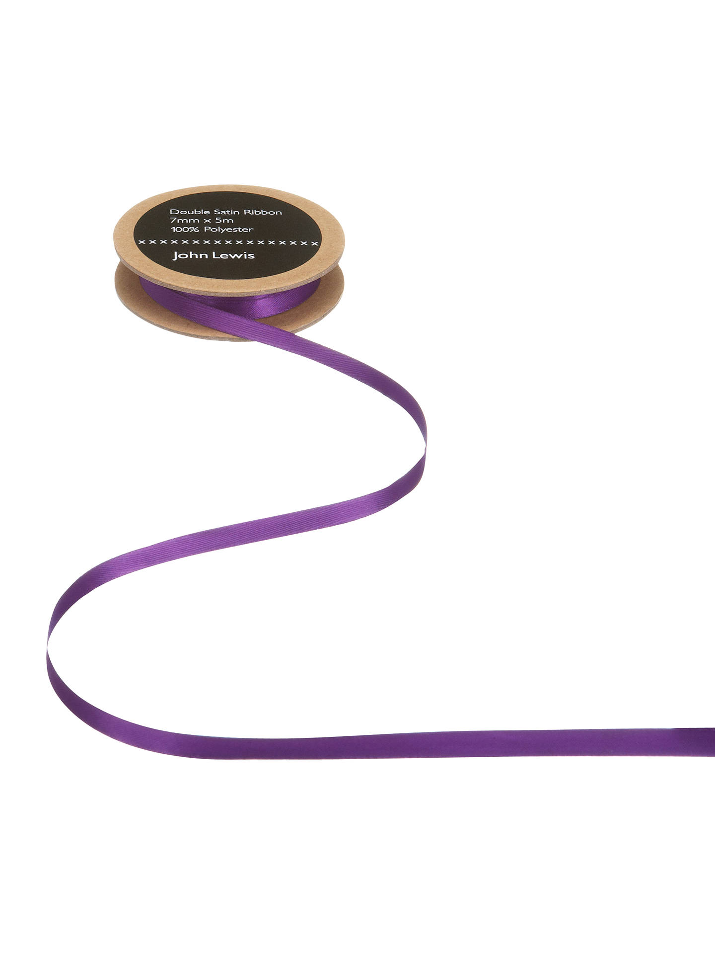 Buy John Lewis & Partners Double Satin Ribbon, 5m, Violet, 7mm Online at johnlewis.com