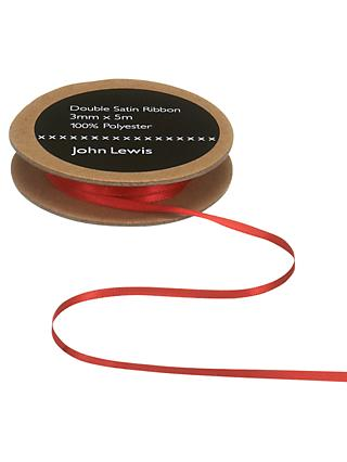 John Lewis & Partners Double Satin Ribbon, 5m, Red