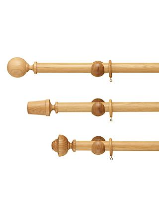 John Lewis & Partners Solid Oak Curtain Pole, Dia.35mm