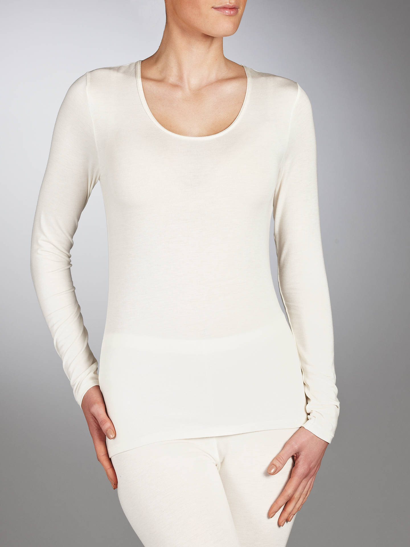 BuyJohn Lewis & Partners Long Sleeve Heat Generating Thermal Top, Ivory, 8-10 Online at johnlewis.com