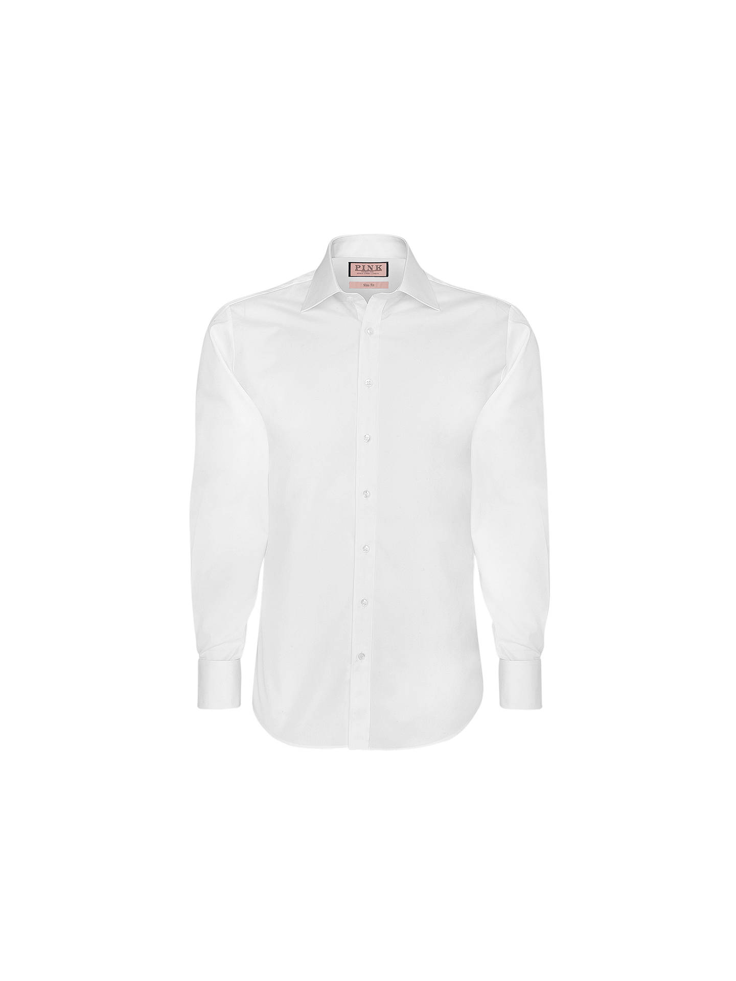 Thomas Pink Solid Slim Fit Single Cuff Dress Shirt White At John