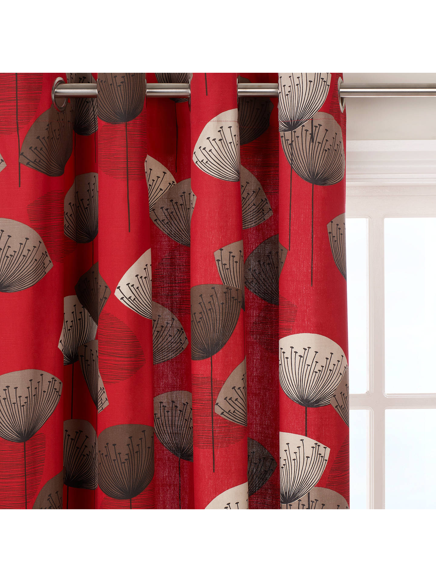 Sanderson Dandelion Clocks Pair Lined Eyelet Curtains Red