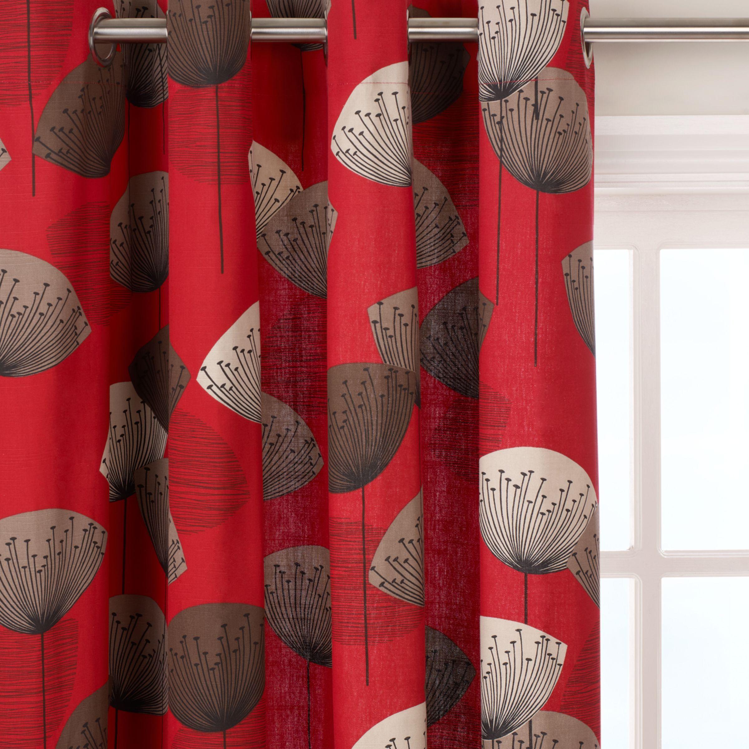 Sanderson Sanderson Dandelion Clocks Pair Lined Eyelet Curtains, Red