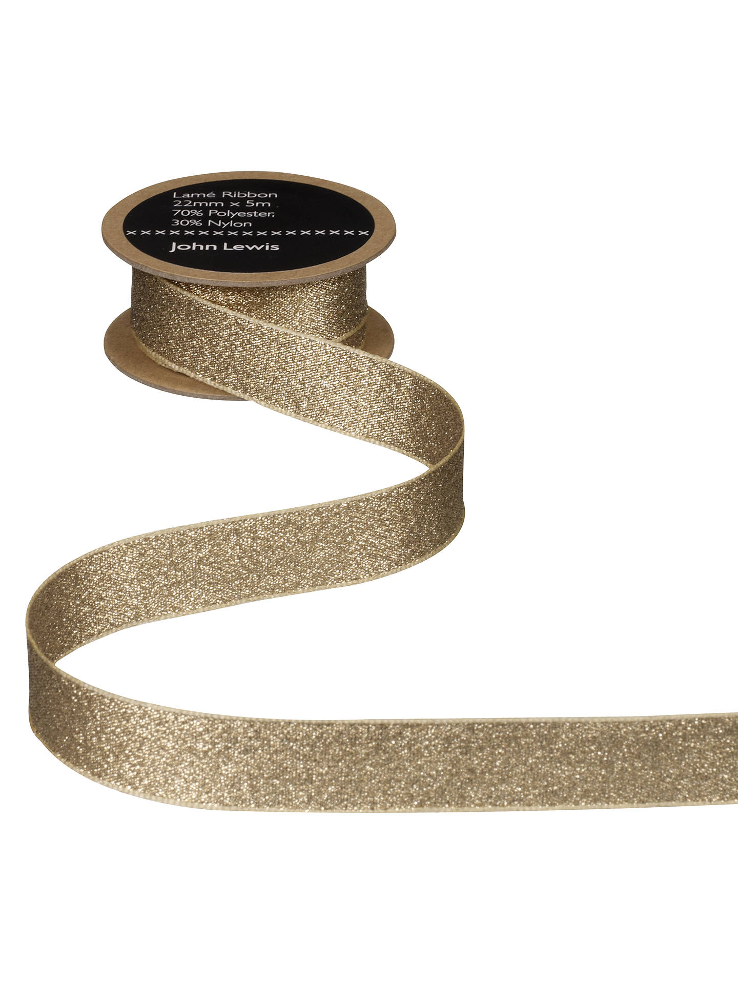Buy John Lewis & Partners Lamé Ribbon, Gold, 6mm Online at johnlewis.com