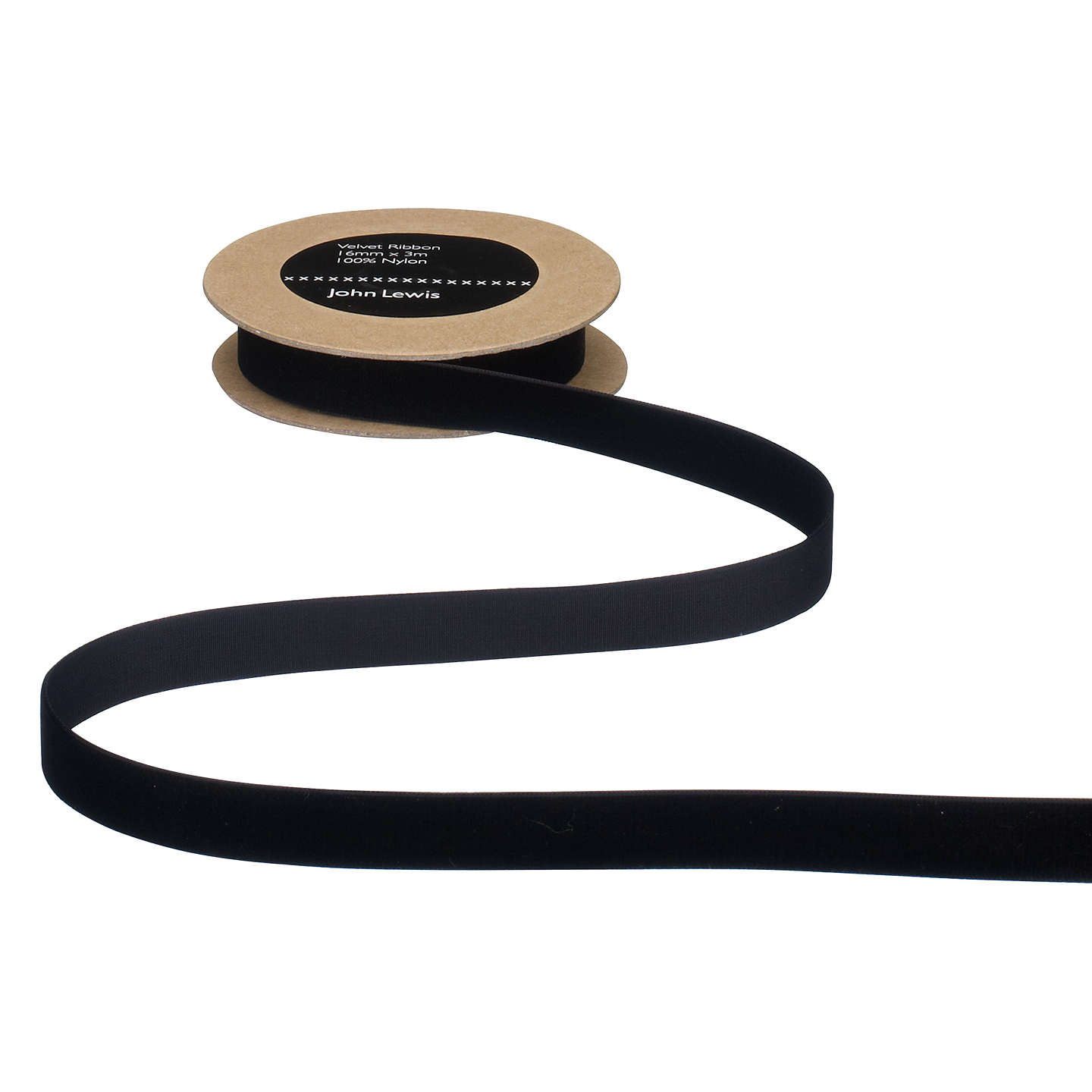 BuyJohn Lewis Velvet Ribbon, Black, 16mm Online at johnlewis.com