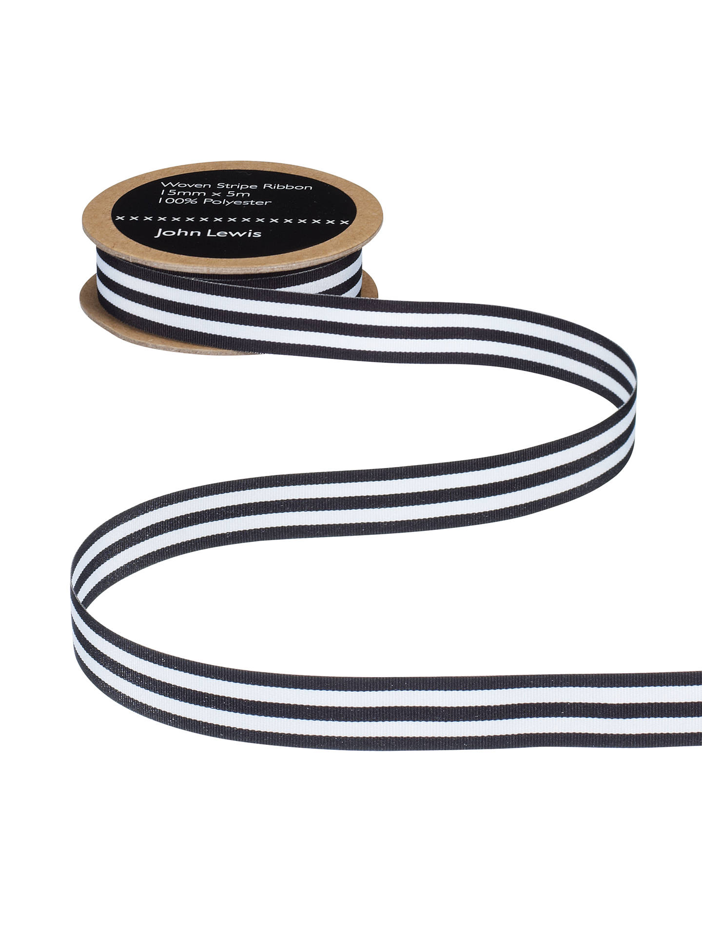 Buy John Lewis & Partners Woven Ribbon, Black/White, 25mm Online at johnlewis.com