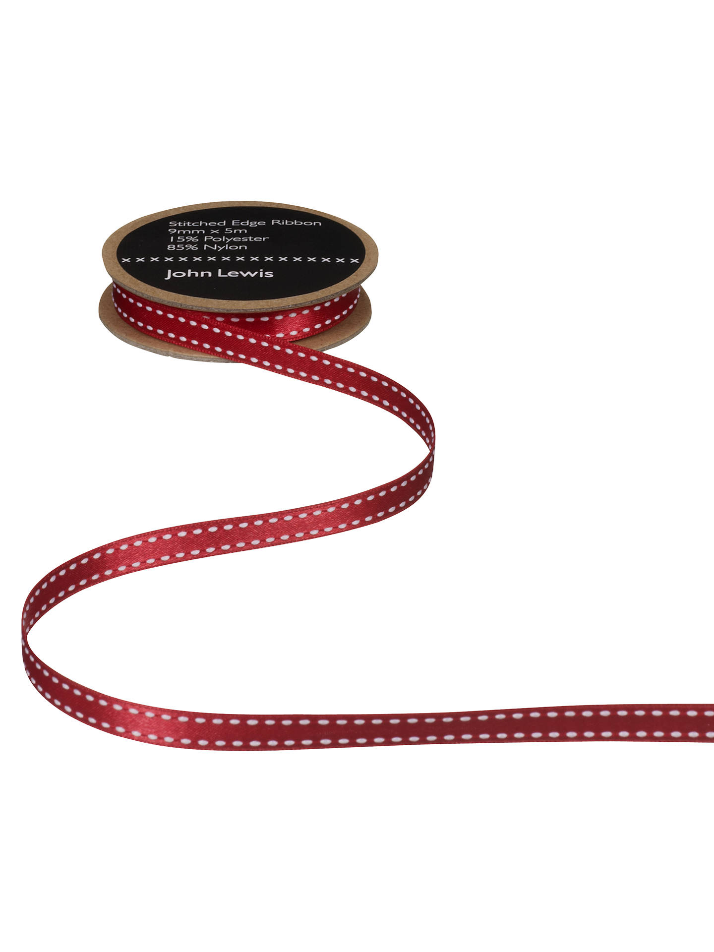 BuyJohn Lewis & Partners Stitched Edge Ribbon, White/Red, 9mm Online at johnlewis.com