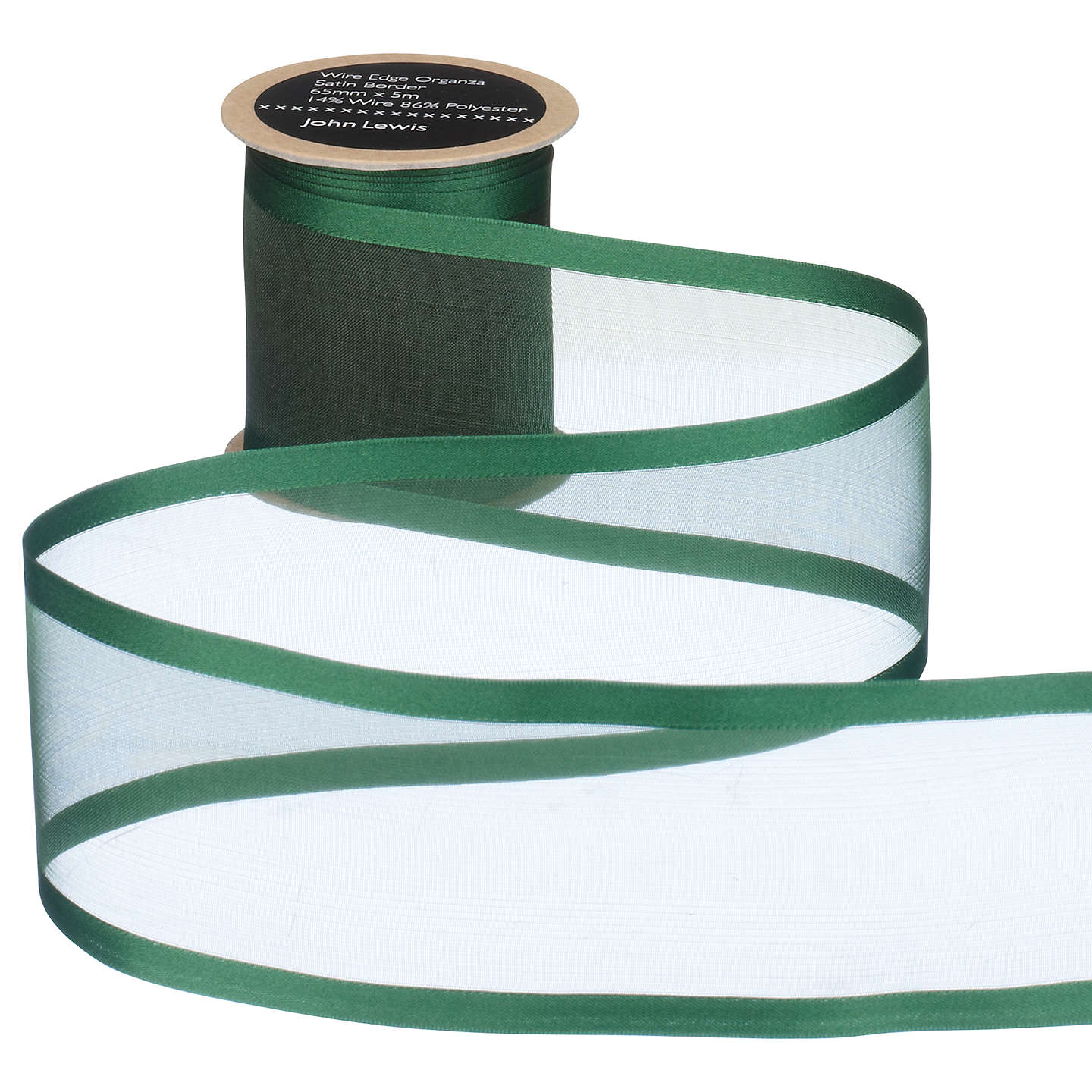 BuyJohn Lewis Wire Edge Woven Sheer Organza Ribbon, Green, 65mm Online at johnlewis.com